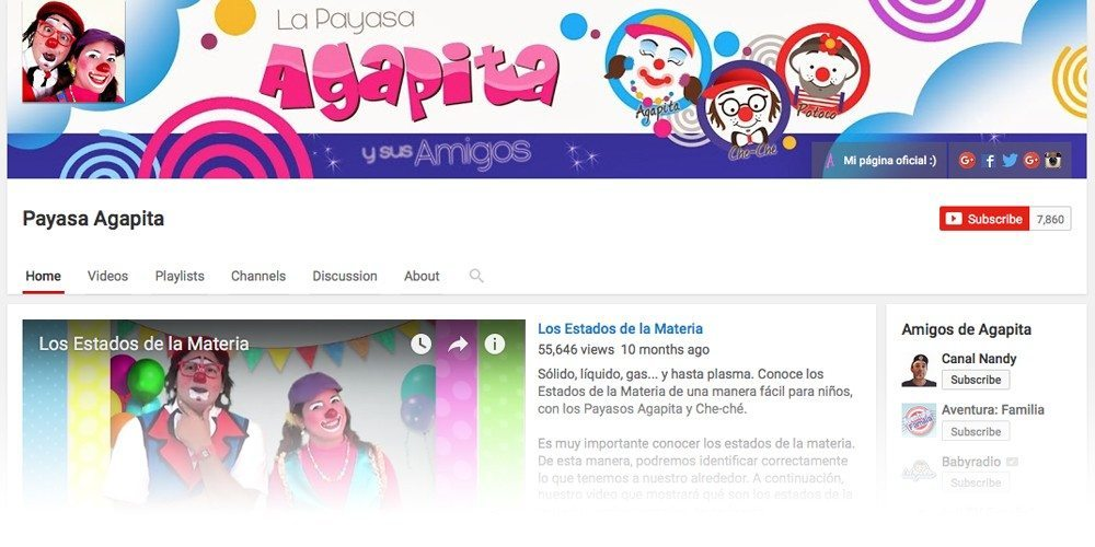 Pantalla canal de youtube Payasos en Puerto Rico Payasa Agapita Cheche Potoco