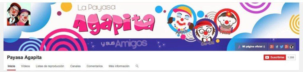 Encabezado del canal Payasa Agapita en YouTube