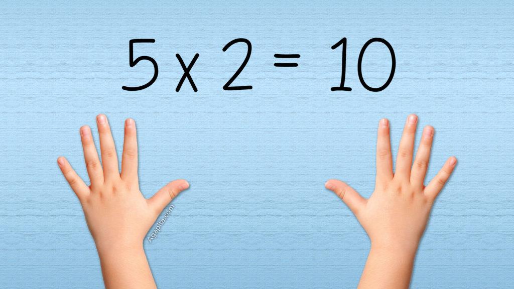 Tabla del 5 - 5x2 es 10