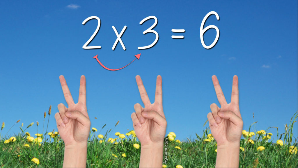 Tabla del 5 - Ejemplo, 2x3 es 6