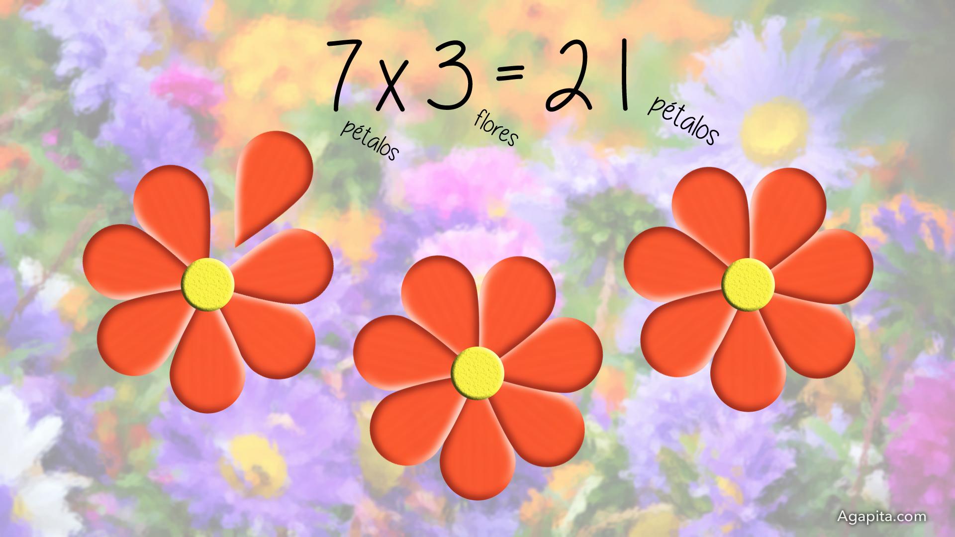 Tabla del 7 - 7 pétalos por 3 flores